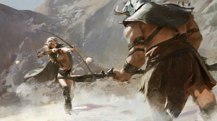 Archer, fantasy art, warrior, elves, goggles, digital art, concept art, artwork, fighting, painting, battle axe, bow, Huang Fan