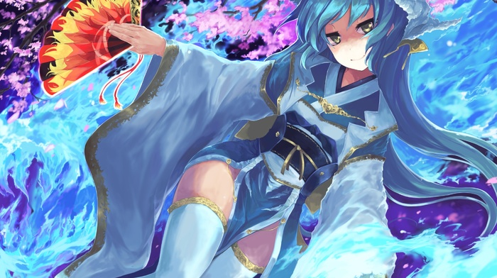 FateGrand Order, fans, fate series, anime girls, Kiyohime FateGrand Order, thigh, highs, blue hair, anime