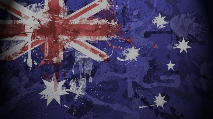 flag, Australia, red, blue, painting, white, artwork
