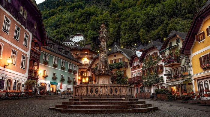 house, Austria, evening, sculpture, lights, architecture, bench, old building, town, town square, building, forest, Hallstatt, angel