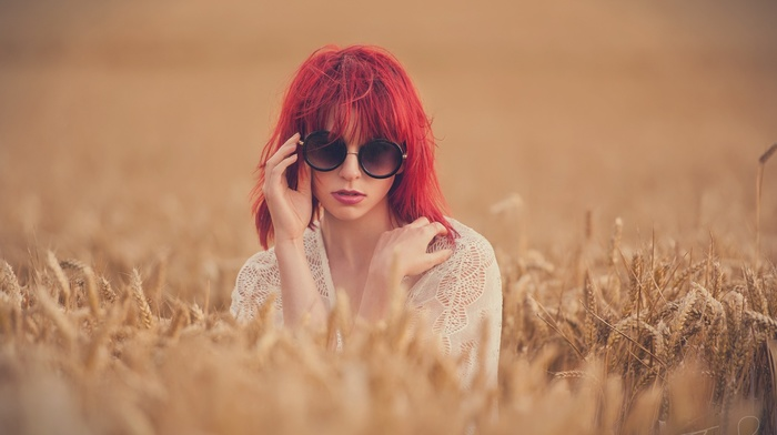 grain, model, face, nature, depth of field, girl outdoors, spikelets, girl, hands, redhead, long hair, field, see, through clothing, Jack Russell, girl with glasses, sunglasses, white tops