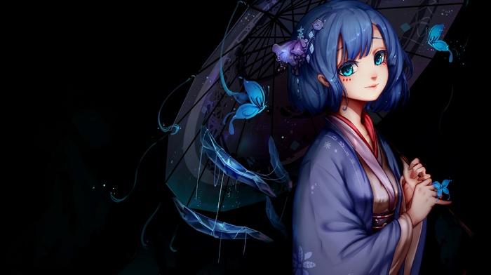 anime, kimono, umbrella, anime girls, blue hair, cirno, blue eyes, touhou