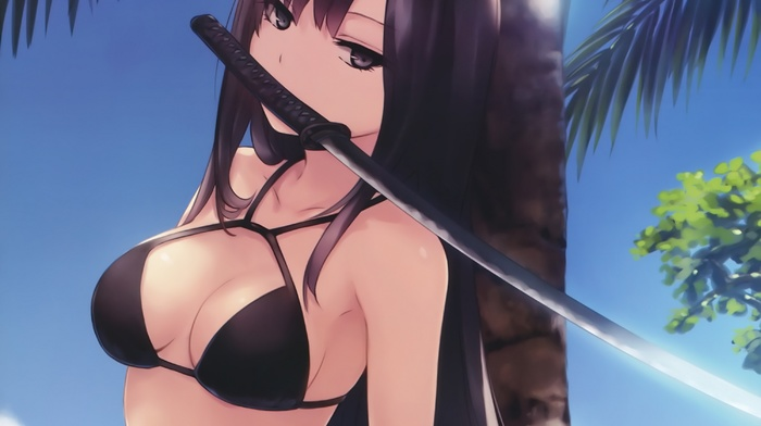 Kasuga Toru, black hair, anime girls, Bishoujo to wa, anime, katana, sword, coffee, Kizoku, iru Koto to Mitsuketari, bikini