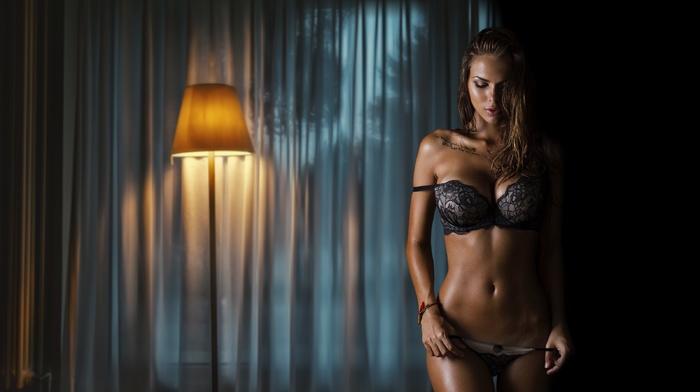 bra, belly, russian girl, brunette, model, tattoo, navels, skinny, legs, girl, tan, Viki Odintcova, bare shoulders, Russian Model, open mouth, panties, tanned, hands on hips, Aleksandr Mavrin, lingerie, long hair