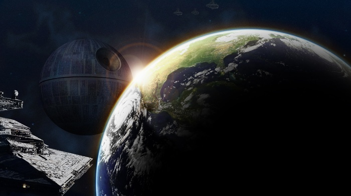 space art, Earth, Death Star, Star Destroyer, Star Wars
