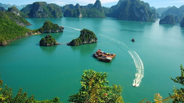 nature, sea, water, photography, trees, boat, landscape, bay, ship, island, tropical, Ha Long Bay, Vietnam