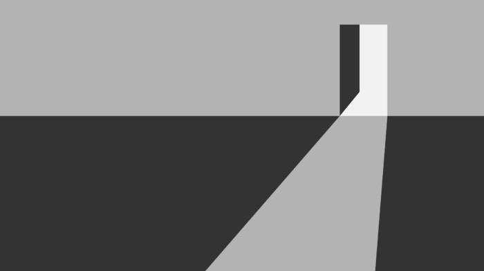 door, gray, minimalism, geometry, artwork, simple, digital art