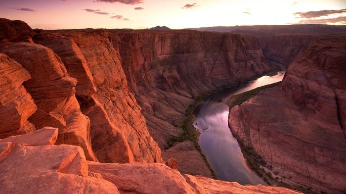 sunset, canyon, river, rock, nature, photography, landscape