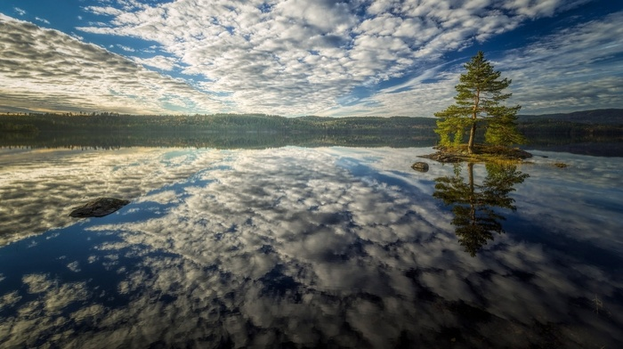 clouds, horizon, lake, water, rock, nature, landscape, hills, trees, reflection, island, forest