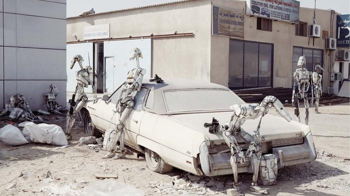 photo manipulation, old car, robot, Dubai, Star Wars