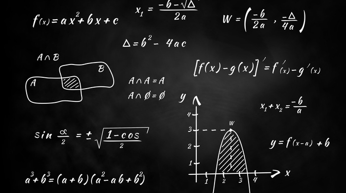 equation, numbers, Blackboard, graph, science, simple background, knowledge, monochrome, formula, mathematics