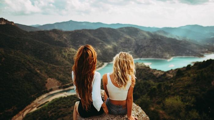 depth of field, river, panoramas, girl, sitting, tank top, redhead, long hair, girl outdoors, blonde, rear view, mountains, jean shorts
