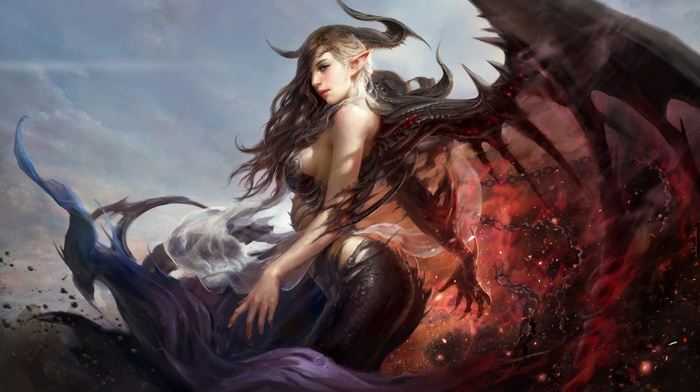 wings, demon, drawing, anime, girl, ecchi, sideboob, demoness