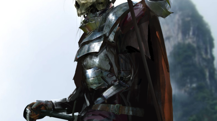drawing, dead, armor, undead, death, fantasy art, knight, weapon, skeleton