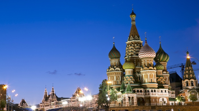 Kremlin, Moscow, church, city, Russia, street light, Red Square, evening, Saint Basils Cathedral, lights