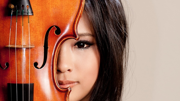 music, simple background, Asian, face, looking at viewer, musical instrument, long hair, brown eyes, model, violin, portrait, girl, brunette