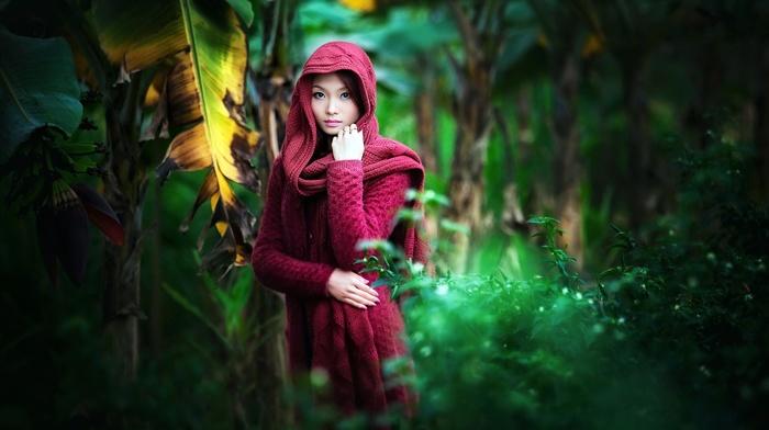 jungle, palm trees, long hair, depth of field, nature, hoods, girl, Asian, model, trees, brunette, girl outdoors