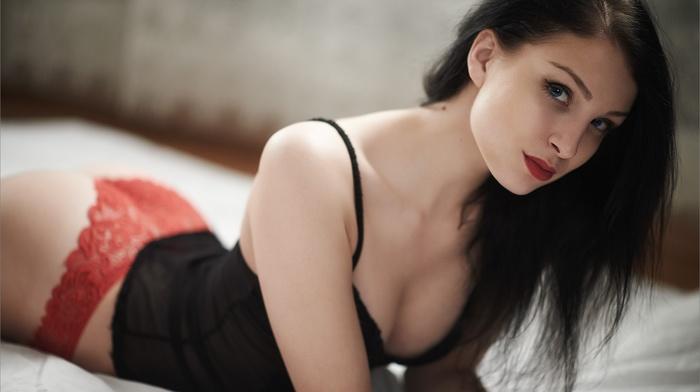ass, pale, red lipstick, sideboob, red panties, smirk, no bra, girl, blue eyes, lingerie, lace, cleavage, black hair, brunette