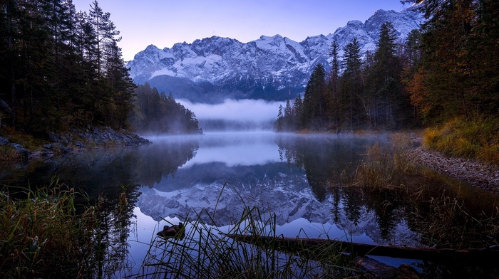 Germany, forest, reflection, nature, trees, landscape, mountains, morning, lake, shrubs, fall, snowy peak