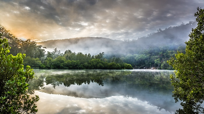 lake, landscape, mist, Australia, reflection, water, clouds, trees, hills, nature