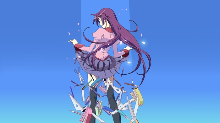 Senjougahara Hitagi, school uniform, anime girls, anime, monogatari series