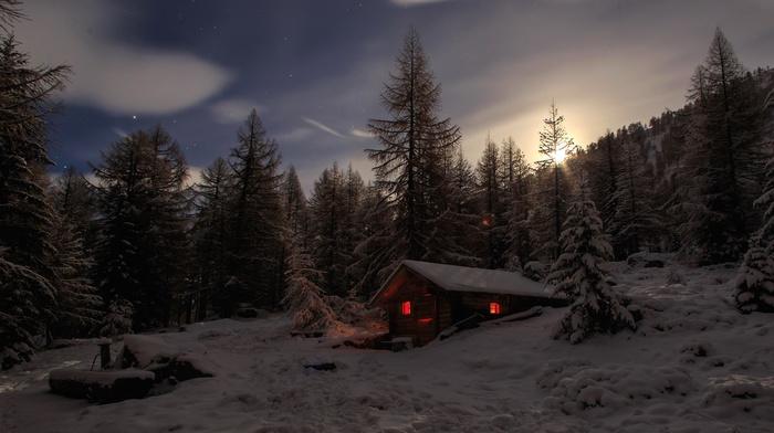 cabin, trees, winter, snow