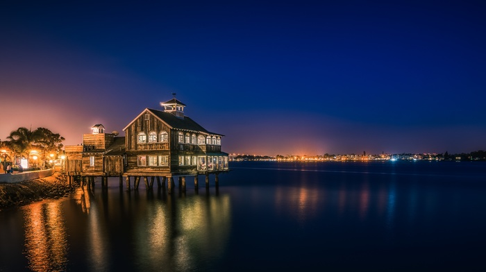 bay, reflection, Pier Cafe, night, San Diego, city, urban