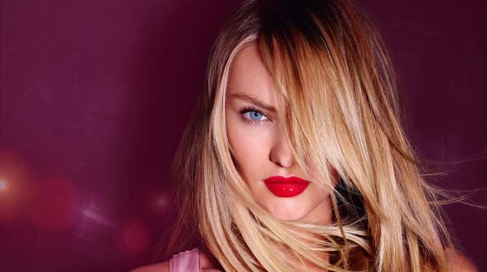 model, girl, Candice Swanepoel, portrait, red lipstick, sensual gaze, blonde