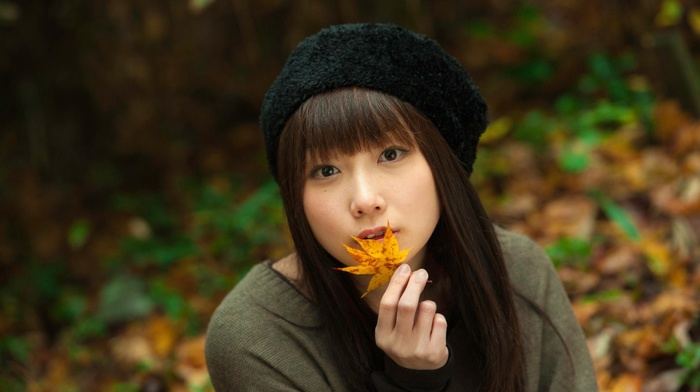 leaves, girl, hat, brunette, millinery, model, brown eyes, face, portrait, outdoors, long hair, looking at viewer, Asian