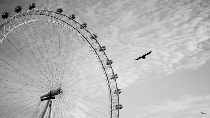 london eye, monochrome, photography, ferris wheel, London, wheels