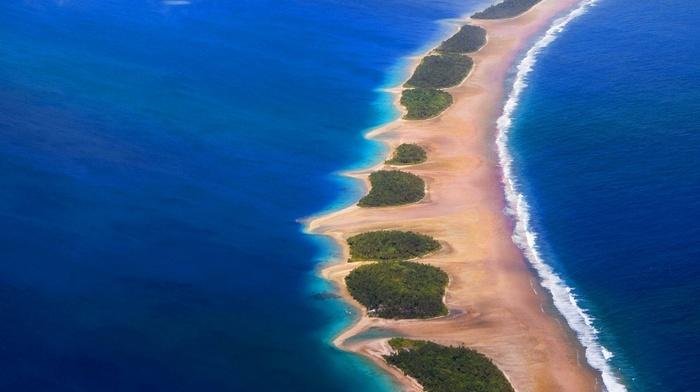 Eden, atolls, landscape, French Polynesia, beach, nature, sea, sand, tropical, aerial view