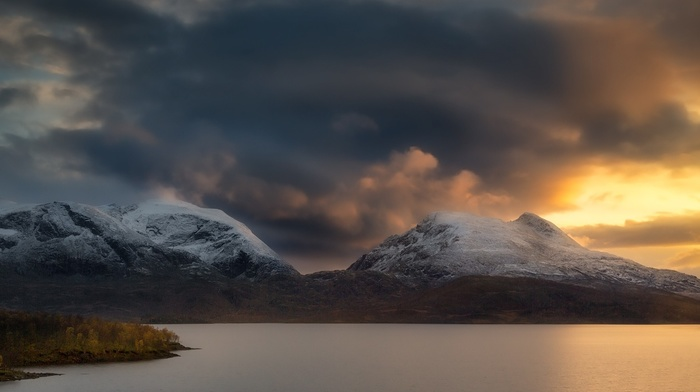 snowy peak, nature, clouds, landscape, mountains, Norway, storm, sunlight, lake