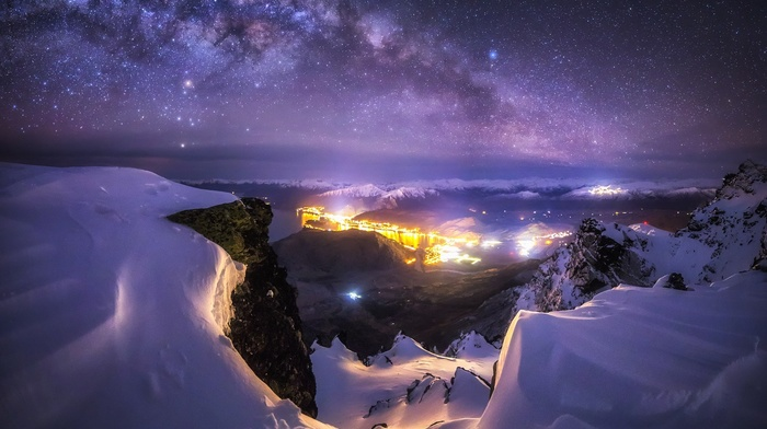 long exposure, winter, nature, city, mountains, landscape, lights, Milky Way, New Zealand, galaxy, snow, Queenstown, starry night
