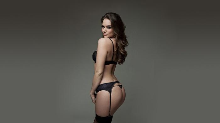ass, pornstar, brunette, Tori Black, thong, gray background