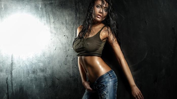 model, wet body, wet clothing, boobs, wet hair, nipple through clothing, jeans, nipples through clothing, girl