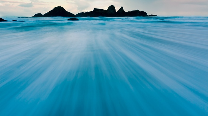 landscape, blue, windows 8, nature, water, operating systems, Microsoft Windows, sea, rock formation, photography, long exposure