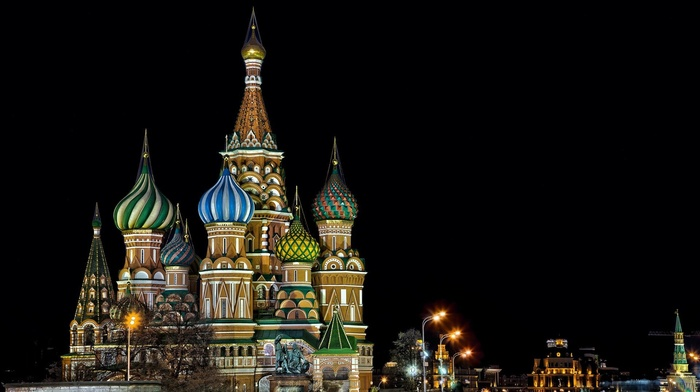 tower, Russia, city, night, Moscow, cityscape, building, architecture, trees, capital, sculpture, street light, lights, Saint Basils Cathedral