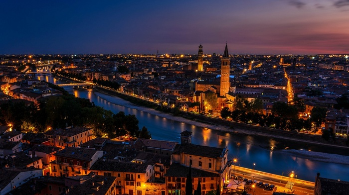 ancient, Verona, rooftops, bridge, tower, reflection, lights, city, Italy, old building, night, trees, street, cityscape, architecture, clouds, church, river, building