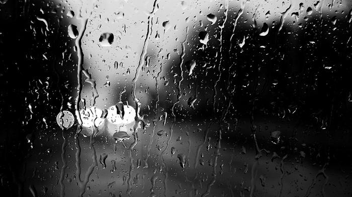 lights, water, rain, glass, photography, monochrome