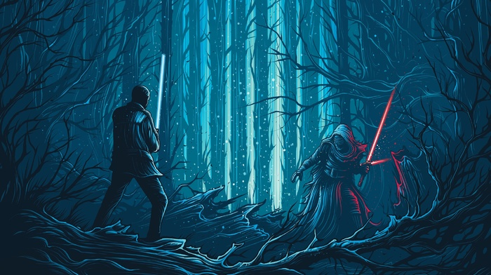 Star Wars The Force Awakens, Dan Mumford, Kylo Ren, Star Wars, movies, concept art, science fiction, artwork, lightsaber