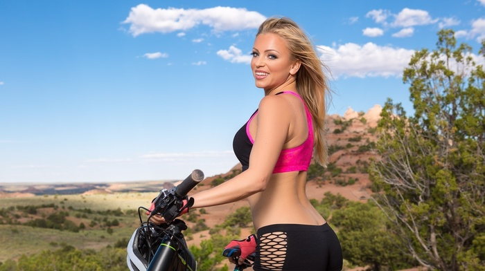 girl, booty shorts, bicycle, model, smiling, blonde, girl outdoors