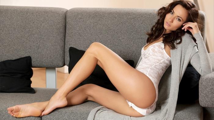 bodysuit, Michaela Isizzu, looking at viewer, couch, legs, ass, barefoot, sensual gaze, feet, girl, lingerie, brunette