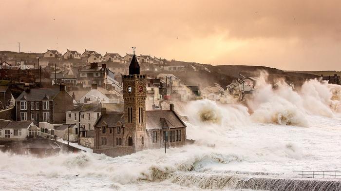 England, church, UK, storm, town, sea