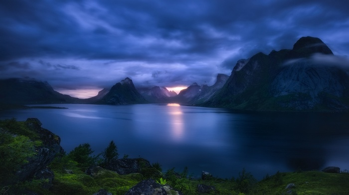 blue, nature, landscape, mountains, Norway, Lofoten, shrubs, clouds, grass, dark, sunset, lake