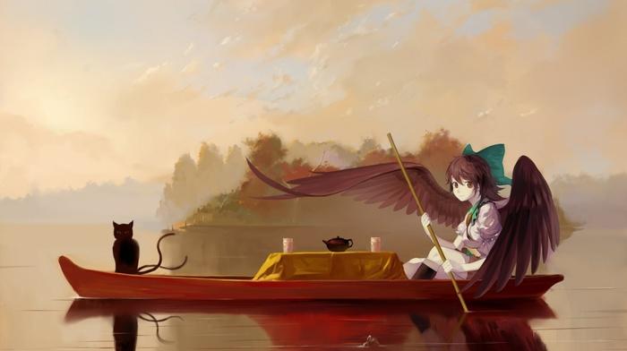 cat, touhou, Kaenbyou Rin, wings, Reiuji Utsuho, tea, river, boat
