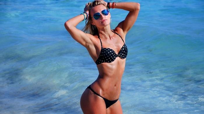 armpits, blonde, black bikinis, girl, hands on head, sea, water, model, sunglasses, Ekaterina Gerasimova