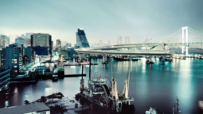urban, sea, evening, water, building, bridge, cityscape, Japan, reflection, photography, lights, Rainbow Bridge