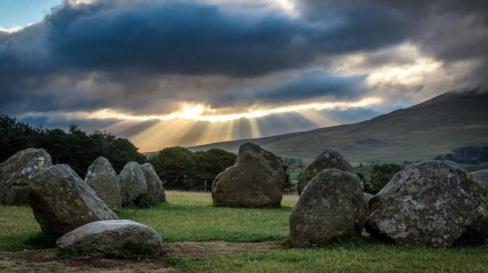 trees, nature, stone circle, clouds, stones, Lake District, grass, landscape, UK, Castlerigg Stone Circle