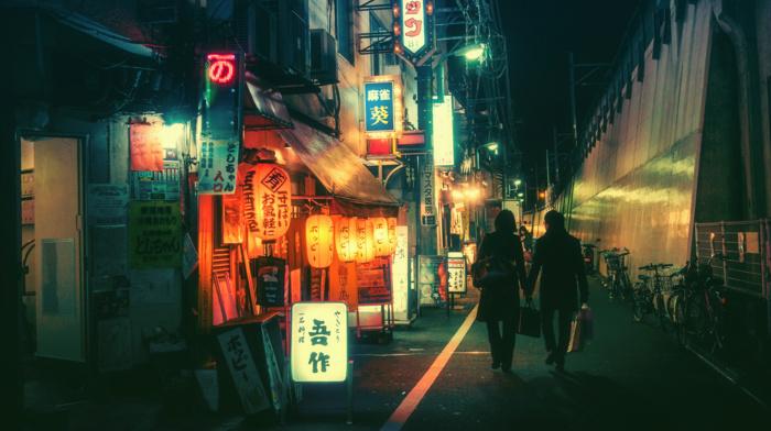 Japanese, backstreet, bicycle, neon, kanji, lantern, Tokyo