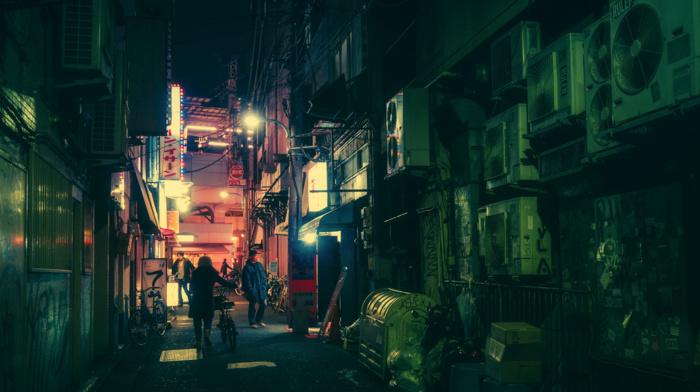 Tokyo, Japanese, bicycle, neon